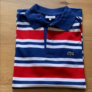 Red White & Blue Striped Short Sleeve Lacoste Polo